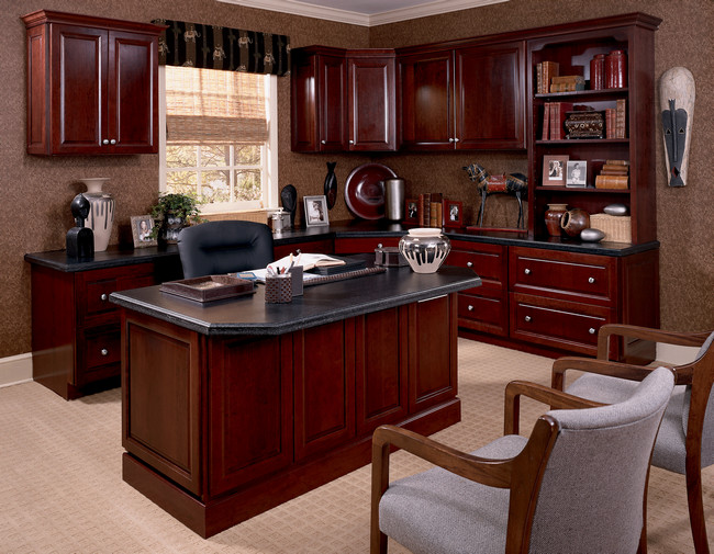 Kraftmaid custom desk bookcase and upper cabinets in cabernet for Home office cabinet design ideas