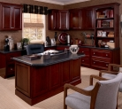 KraftMaid custom desk bookcase and upper cabinets in Cabernet