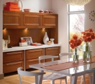 Kraftmaid Dining Area with Clean Lines of Cherry Cabinetry