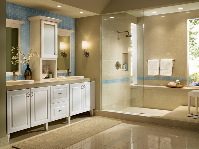 clean white thermofoil kraftmaid bathroom cabinetry - Cabinet Designs For Bathrooms