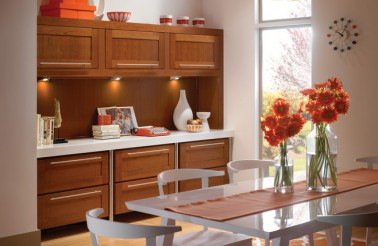 kraftmaid-dining-area-with-clean-lines-of-cherry-cabinetry