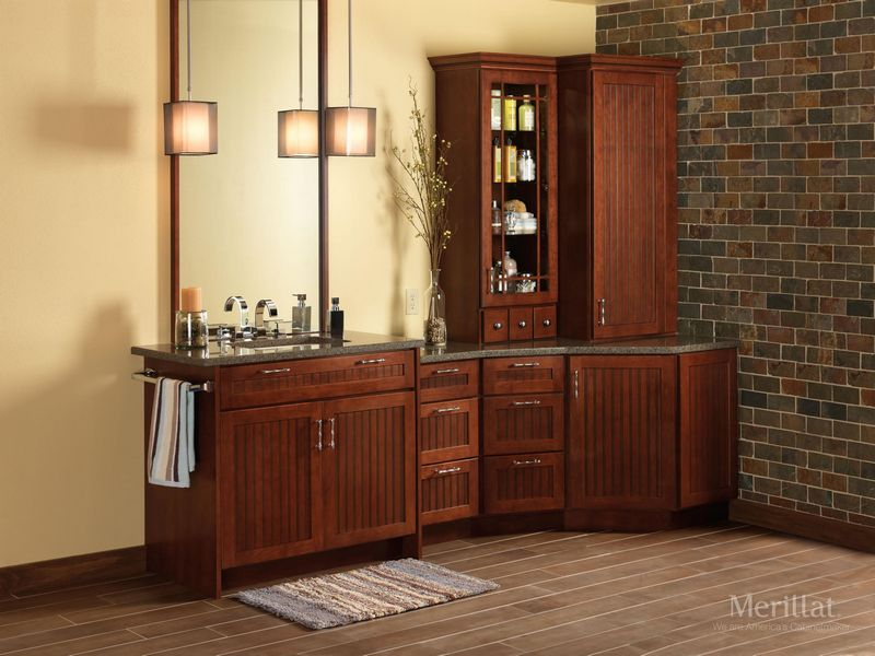 merillat classic avenue w 5 piece drawer in cherry paprika with ebony glaze - Merillat Classic Kitchen Cabinets