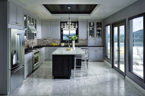 black-and-white-tops countertops cabinets contrasting kitchen contemporary