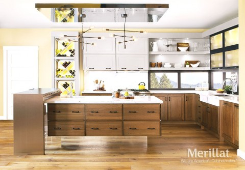 modern kitchen cabinets options top-hing floating island Galina cherry maple husk pebble custom options floating shelves glass doors wine storage
